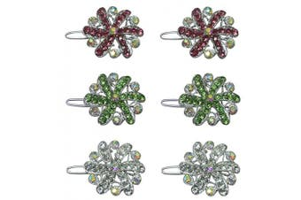 (rose/green/crystalAB) - Set of 3 Pairs Small Medallion Barrettes, One Pair Each of 3 Colours U86250-1719-3prsRGcAB