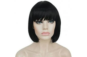 (#1) - Lydell 20cm Straight Short Bob Wig Cute Flat Bangs Synthetic Wigs Black