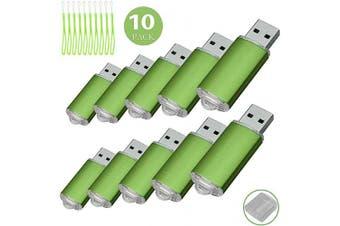 (16GB, Green) - 10PCS USB Flash Drive USB 2.0 Memory Stick Memory Drive Pen Drive (16GB, Green)