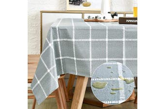 (140cm  x 200cm , Light Greenish Gray) - Vinyl Oilcloth Tablecloth Rectangular Wipeable Oil-Proof Waterproof PVC Tablecloth Kitchen Checked 140cm x 200cm