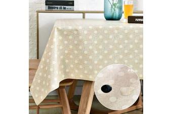 (140cm  x 200cm , Polka Dot) - LOHASCASA Vinyl Oilcloth Tablecloth Rectangular Wipeable Oil-Proof Waterproof PVC Tablecloth Kitchen Beige and White Polka Dot 140cm x 200cm