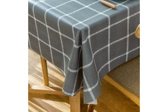 (140cm  x 270cm , Grey Plaid) - Vinyl Oilcloth Tablecloth Rectangle Wipeable Oil-Proof Waterproof PVC Heavy Duty Long Tablecloth Chequered 140cm x 270cm