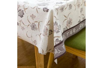 (140cm  x 180cm , Flower) - Vinyl Oilcloth Tablecloth Small Rectangle Water Resistant/Oil-proof Wipeable PVC Heavy Duty Plastic Tablecloths Weights for Outdoor Picnic - Floral Grey 140cm x 180cm