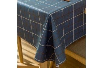 (140cm  x 200cm , Blue Plaid) - Vinyl Oilcloth Tablecloth Rectangular Wipeable Oil-Proof Waterproof PVC Tablecloth Kitchen Checked 140cm x 200cm