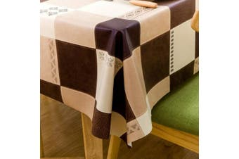 (140cm  x 210cm , Plaid) - Vinyl Oilcloth Tablecloth Rectangle Heat Resistant/Oil-proof Wipeable Thick PVC Plastic Long Oblong Tablecloths for Spring Outside Picnic - Plaid Tan and Dark Brown 140cm x 210cm
