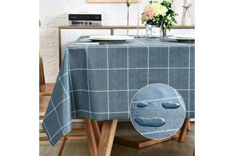 (140cm  x 140cm , Navy Blue Plaid) - Vinyl Oilcloth Tablecloth Square Wipeable Oil-Proof Waterproof PVC Tablecloth Plaid 140cm x 140cm