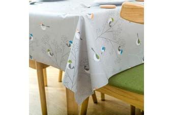 (140cm  x 270cm , Bird) - Vinyl Oilcloth Tablecloth Rectangle Wipeable Oil-Proof Waterproof PVC Heavy Duty Long Tablecloth Bird 140cm x 270cm