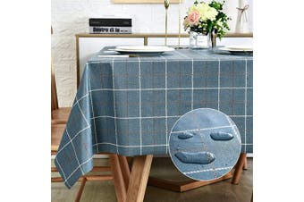 (140cm  x 270cm , Navy Blue Plaid) - Vinyl Oilcloth Tablecloth Rectangle Wipeable Oil-Proof Waterproof PVC Heavy Duty Long Tablecloth Chequered 140cm x 270cm