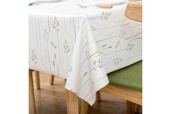 (140cm  x 210cm , Green Grass) - Vinyl Oilcloth Tablecloth Rectangle Heat Resistant/Oil-proof Wipeable Thick PVC Plastic Long Oblong Tablecloths for Spring Outside Picnic - Grass Ivory White 140cm x 210cm