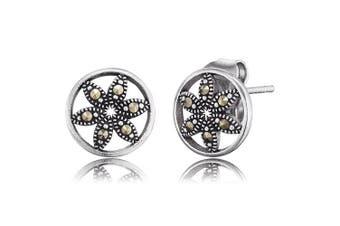 "Engelsrufer Flower of Life Ear Studs for Women Vintage Look 925 Sterling Silver Marcasite Size 10 mm (0.39"")"