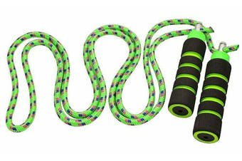 (2.4m, Green) - Kids Jump Rope - Anna's Rainbow Rope - Durable Child Friendly Skipping Rope - Exercise Toy for Playground with Lightweight Foam Handles and Vibrant Colours