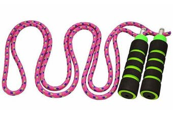 (2.4m, Pink) - Kids Jump Rope - Anna's Rainbow Rope - Durable Child Friendly Skipping Rope - Exercise Toy for Playground with Lightweight Foam Handles and Vibrant Colours