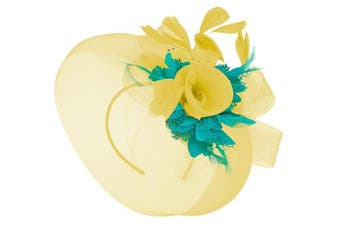 (Yellow and Turquoise) - Caprilite Yellow Feather Flower Fascinator Hat Veil Net Headband Clip Ascot Derby Races Wedding