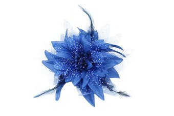 (Sapphire Blue) - Auranso Beauty Hairclip Barrettes Mesh Net Headband Flower Fascinator Feather Hair Band