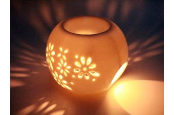 Flower Window Ball Shape Tea Light Holder Fragrance Essential Oil Burner, Aromatherapy Wax Melt Warmer, Essential Oil Diffuser, Great Decoration for Living Room