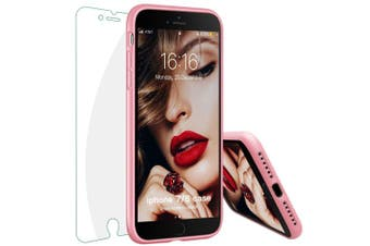 (Sand Pink) - iPhone 8 Case, iPhone 7 Case, JASBON Liquide Silicone Phone Case with Free Tempered Screen Gel Rubber Soft Touch Cover Full Protective Case for iPhone 8 iPhone 7-Sand Pink