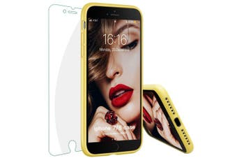 (Yellow) - iPhone 8 Case, iPhone 7 Case, JASBON Liquide Silicone Phone Case with Free Tempered Screen Gel Rubber Soft Touch Cover Full Protective Case for iPhone 8 iPhone 7-Yellow