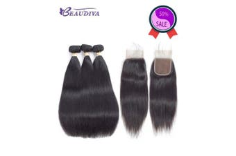 (16 18 20+14closure, STRAIGHT Wave) - 10A Brazilian Straight Hair Bundles with Lace Closure (41cm 46cm 50cm with 36cm Free Part Closure) 100% Unprocessed Virgin Brazilian Human Hair Weft Natural Black Colour