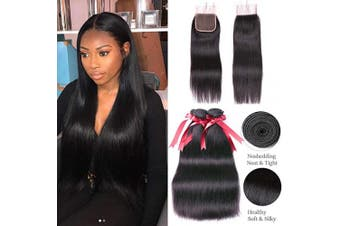 (10 12 14+10closure, STRAIGHT Wave) - Brazilian Straight Virgin Hair 3 Bundles with Closure(25cm 30cm 36cm with 25cm ) Brazilian Straight Hair Weave 100% Unprocessed Brazilian Human Hair With Free Part Lace Closure