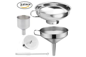 Abimars 3 Pieces Funnel Durable Stainless Steel Kitchen Funnels with Strainer-Ideal for Transferring of Spices Liquid Powder Bean jam Canning Dishwasher Safe Funnels Set