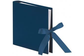 (navy) - Photo Album/Guest Book 2 Ring Binder 25 Sheets 230x210 mm, Navy with Bow