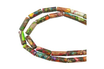 (ZS-1083) - COIRIS 1 Strand 12x4MM Natural Cylinder Tube Shape Stone Loose Beads Imperial Jasper for Jewellery Making DIY Design (ZS-1083)
