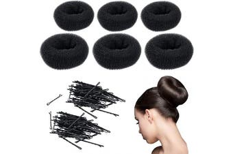 CoverYourHair Donut Bun Maker - Updo Hair Accessories - Hair Donut - 6 PC Hair Bun Maker & 60 Bobby Pins