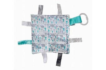 "(Prayer) - Baby Sensory, Security & Teething Closed Ribbon Tag Lovey Blanket with Minky Dot Fabric: 8""X8"" (Prayer)"