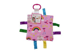 (UNICORN CRINKLE 8x8) - Baby Sensory Crinkle & Teething Square Lovey Toy with Closed Ribbon Tags for Increased Stimulation: 20cm x 20cm (Unicorn and Rainbows)