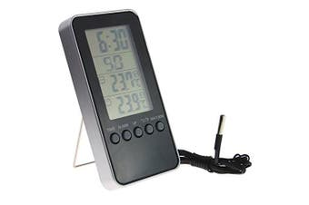 Digital Indoor Outdoor Max Min Thermometer With Handy Clock and Alarm - Ideal For Fridge Freezer Chilled Storage or Greenhouse