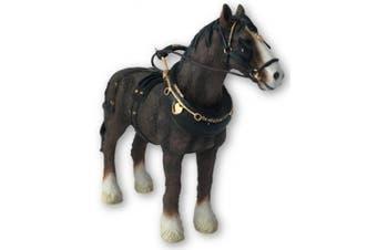 Leonardo Shire Horse With Harness Ornament, Length 18cm