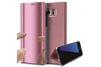 (Rose Gold) - Galaxy S6 Edge Plus Case,Galaxy S6 Edge Plus Cover,ikasus Ultra-Slim Luxury Hybrid Shock-Absorption Electroplate Plating Mirror Makeup Case Cover PU Leather Flip Stand Kickstand Protective Case Cover for Samsung Galaxy S6 Edge Plus,Rose Gold