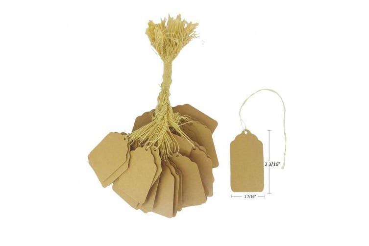 (5.6cm  X 3.7cm , Natural Kraft) - 100 Pcs of Natural Kraft Paper String Tags, Price Tags, Elegant String Tags perfect for Gifts, Promotions, Events, or Boutiques (5.6cm X 3.7cm , Natural Kraft)