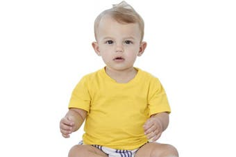 (12-18 Months, Yellow) - Bella & Canvas Baby Jersey Short Sleeve Tee (12-18 Months, Yellow)
