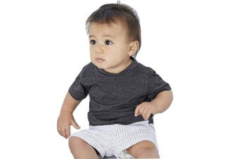 (6-12 Months, Dark Grey Heather) - Bella & Canvas Baby Jersey Short Sleeve Tee (6-12 Months, Dark Grey Heather)