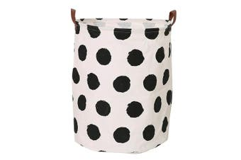 (Black Circle) - CLOCOR Large Storage Bin-Cotton storage Basket-Round Gift Basket with Handles for Toys,Laundry,Baby Nursery (Black circle)