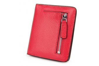 (Red) - AINIMOER RFID Blocking Women's Leather Clutch Wallet Card Case Purse with Zipper Pocket(Red)