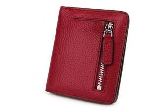 (Wine) - AINIMOER RFID Blocking Women's Leather Clutch Wallet Card Case Purse with Zipper Pocket(Wine)