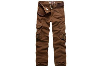 (Red Coffee, 33 Waist x 32 Leg) - AUYUG Mens Cargo Pants Multi Pocket Camouflage Cotton Work Trousers 29-40