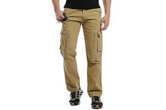(Khaki#12, 30 Waist x 31 Leg) - AUYUG Mens Cargo Pants Multi Pocket Camouflage Cotton Work Trousers 29-40
