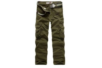 (Army Green#016, 36 Waist x 33 Leg) - AYG Mens Cargo Pants Multi Pocket Camouflage Cotton Work Trousers(army green,36)