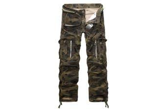 (Star Camo#12, 31 Waist x 32 Leg) - AUYUG Mens Cargo Pants Multi Pocket Camouflage Cotton Work Trousers 29-40