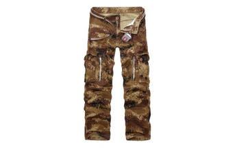 (Sand Camo#12, 31 Waist x 32 Leg) - AUYUG Mens Cargo Pants Multi Pocket Camouflage Cotton Work Trousers 29-40