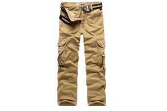 (Khaki#016, 30 Waist x 31 Leg) - AUYUG Mens Cargo Pants Multi Pocket Camouflage Cotton Work Trousers 29-40