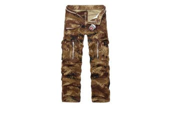 (Sand Camo#12, 38 Waist x 33 Leg) - AUYUG Mens Cargo Pants Multi Pocket Camouflage Cotton Work Trousers 29-40