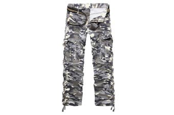 (Gray Camo#12, 29 Waist x 31 Leg) - AUYUG Mens Cargo Pants Multi Pocket Camouflage Cotton Work Trousers 29-40