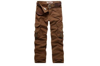 (Red Coffee, 38 Waist x 33 Leg) - AYG Mens Cargo Pants Multi Pocket Camouflage Cotton Work Trousers(red coffee,38)