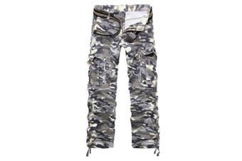 (Gray Camo#12, 31 Waist x 32 Leg) - AYG Mens Cargo Pants Multi Pocket Camouflage Cotton Work Trousers (grey camouflage,31)