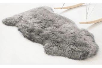 (Grey, 75 X 120 CM) - Faux Fur Sheepskin Style Rug ,HEQUN Faux Fleece Chair Cover Seat Pad Soft Fluffy Shaggy Area Rugs For Bedroom Sofa Floor (Grey, 75 X 120 CM)