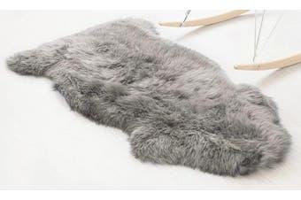 (Grey, 60 X 90 CM) - Faux Fur Sheepskin Style Rug ,HEQUN Faux Fleece Chair Cover Seat Pad Soft Fluffy Shaggy Area Rugs For Bedroom Sofa Floor (Grey, 60 X 90 CM)